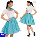 Falda rock polka pin up azul turquesa años 50 grease