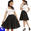 Falda rock polka pin up negra años 50 grease
