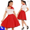 Falda rock polka pin up roja años 50
