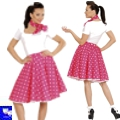 Falda rock polka pin up rosa años 50 grease