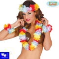 Collar hawaiano de tela tropical set de 4 piezas